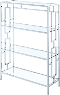 Convenience Concepts Town Square Chrome 4-Tier Bookcase, Clear Glass Frame