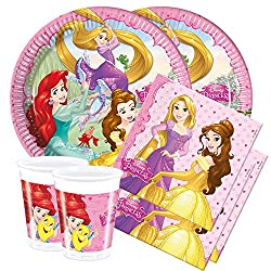 All Inclusive Princess Partyware Set for 8 people Original Licensed Princess Partyware: 8 paper plates, 8 paper cups, 20 napkins Featuring Princess design Excellent Party Pack Designed for 8 people