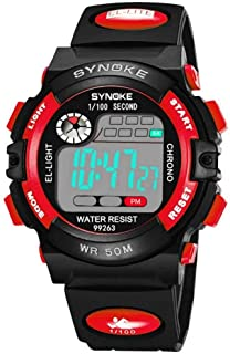 Students Watch, 4 Colors Kids Multipurpose Fashionable Sports Digital Electronic Large Round Dial Wrist Watch