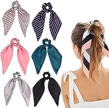 6Pcs Hair Scrunchies Satin Silk Elastic Hair Bands Hair Scarf Ponytail Holder Scrunchy Ties Vintage Accessories for Women Girls