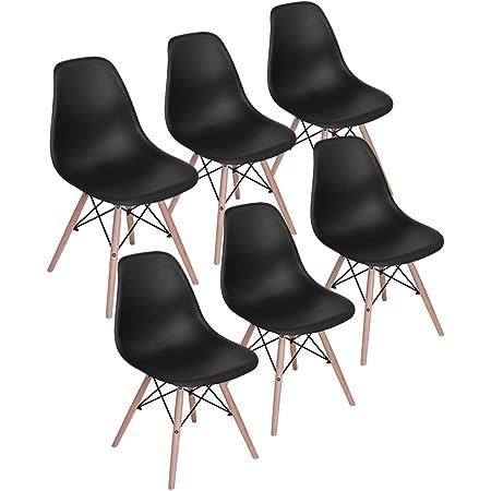 H.J WeDoo Lot de 6 Chaises de Salle à Manger, Chaises Scandinaves Design Bois Chaise en Polyéthylène pour Cuisine/Bureau/Bar(Noir)