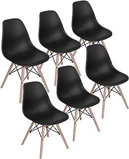 H.J WeDoo Lot de 6 Chaises de Salle à Manger, Chaises Scandinaves Design Bois Chaise en Polyéthylène pour Cuisine/Bureau/B...