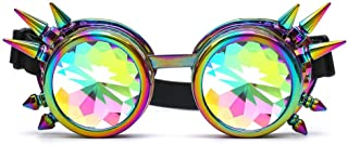 Halloween Goggles - Kaleidoscope Rave Steampunk Goggles with Rainbow Glass Lens Retro Cyber Punk Gothic Cosplay Dance Gogges