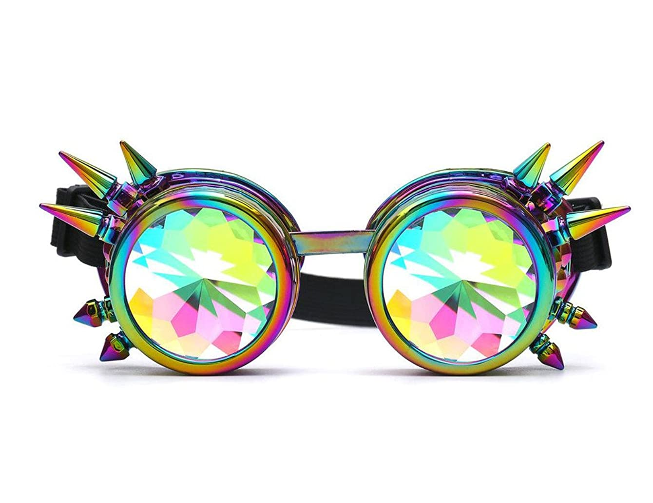 FUT ABS Rainbow Spiked Steampunk Goggles Kaleidoscope Rave Lenses Cyber Welding Goth Cosplay Vintage Goggles