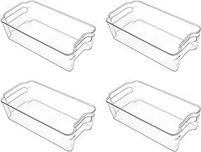 علب تخزين الثلاجة (4 عبوات) من بوريكون، منظم الفريزر البلاستيكي الشفاف القابل للتكديس، حاويات تخزين الطعام بمقابض للثلاجة ...
