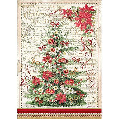 STAMPERIA INTL Rice Paper-Christmas Greetings Tree Stamperia-Carta di Riso-Albero di Auguri di Natale, Mutli Colorato, A4