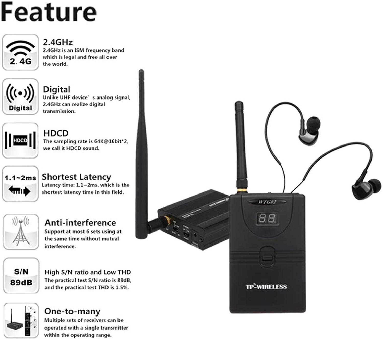 Docooler TP-Wireless In Ear Monitor System,Professionelles digitales 2,4G Monitorsystem für Bühnen (1 Sender 5 Empfnger)