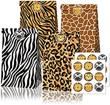 12Pack Jungle Safari Goodie Bags Zoo Animal Print Gift Treat Bags Party Favor Paper Bags with Stickers for Jungle Safari Theme Birthday Baby Shower Party Supplies