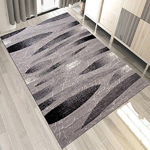 Carpeto Designer Teppich Modern Gestreift Muster Meliert In Grau Schwarz - ÖKO TEX (300 x 400 cm)