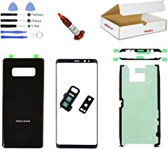 (md0410) Black Front Outer Glass Lens, Back Cover, Rear Camera Lens Frame Replacement Part Compatible for Galaxy Note 8 Phone Model N950 Repair Tools Kit (LCD Screen & Touch Digitizer Not Included)