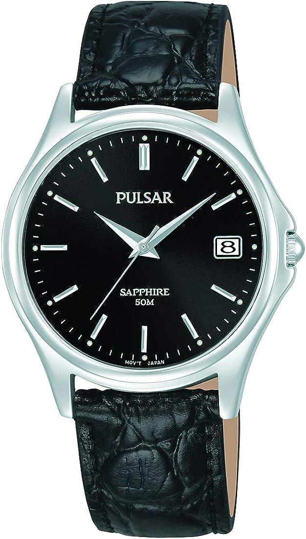 Pulsar - Reloj de Cuarzo para Hombre con Revestimiento de Paladio y Correa de Piel