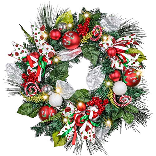 Valery Madelyn Pre-Lit 24 Inch Delightful Elf Christmas Door Wreath with Ball Ornaments, Berries, Candy Canes, Ribbons and Flowers, Battery Operated 20 LED Lights