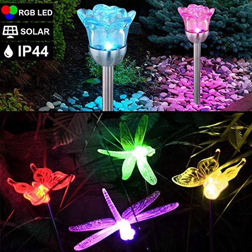 6er Set RGB LED Solar Steck Lampen Farbwechsel Schmetterling Garten Erdspieß Blumen Außen Leuchten