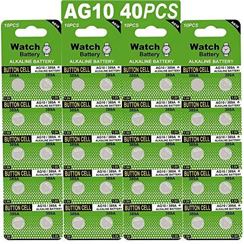 40/Pack Watch Alkaline Battery Button Cell LR1130 AG10 (40 Batteries)