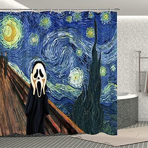 Fuortia Van Gogh Sternennacht Duschvorhang The Scream Duschvorhang mit Haken, Kunst-Badvorhang-Set, Badezimmer-Dekoration, 177 x 177 cm