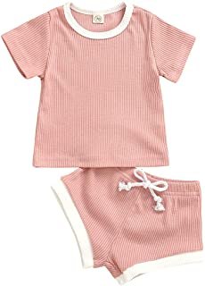 Infant Baby Boy Girl Ribbed Outfit Short Sleeve Knit...