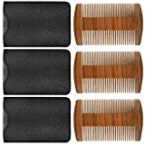 3 Pieces Beard Comb Natural Sandalwood Wooden Mustaches Combs Dual Action Teeth Beard Comb with 3 Pieces Pocket Faux Leather Case for Beards Mustaches (Brown)