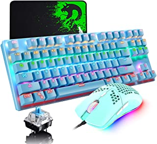 Urworthltd メカニカル ゲーミングキーボードセット 青軸 有線 87キー 全キーロールオーバー ハニカムデザイン 軽量6400DPI プログラム可能 マウスパッド付き RGBバックライト キーボードマウスセット ドライバー コンパクト...