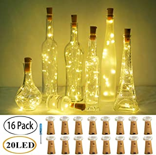 LoveNite Wine Bottle Lights with Cork, 16 Pack 20 LED Battery Operated Cork Shape Silver Wire Colorful Fairy Mini String Lights(with Screwdriver) for DIY, Party, Christmas, Wedding with (Warm White)