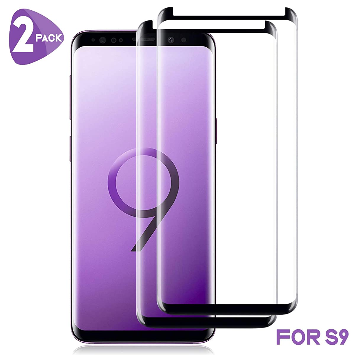 [2-Pack] Galaxy S9 Screen Protector,WZS [9H Hardness][Anti-Fingerprint][Ultra-Clear][Bubble Free] Tempered Glass Screen Protector Compatible with Samsung Galaxy S9