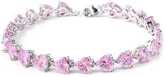 Shop LC Delivering Joy Silvertone Heart Cubic Zirconia CZ Purple Bracelet for Women 8 inch Cttw 16.8 Jewelry
