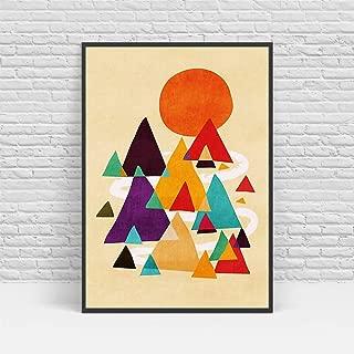 yhyxll Abstracto nórdico Lienzo Arte Sol montaña Paisaje decoración del hogar Cartel Imagen Sala Moderna Pintura B 60X80cm