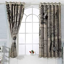 FreeKite Clock Patio Door Curtains for Bedroom Antique Accessories Design Old Fashion Magazine Sewing and Writing Tools Print Thermal Insulated Noise Reducing W96 x L84 Inch Beige and Black
