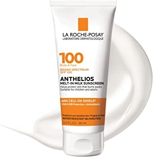 La Roche-Posay Anthelios Melt-in Milk Body & Face Sunscreen Lotion Broad Spectrum SPF 100, Oxybenzone & Octinoxate Free, S...