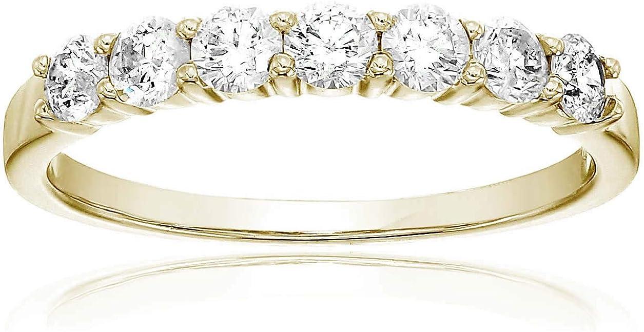 Vir Jewels 1/2 cttw 7 Stone Diamond Wedding Band 14K Rose Gold Prong Set Round
