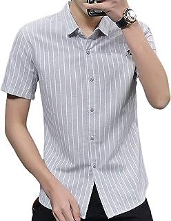 Casual Top Corta De Los Hombres De La Manga De Las Camisetas A Rayas con Botones De