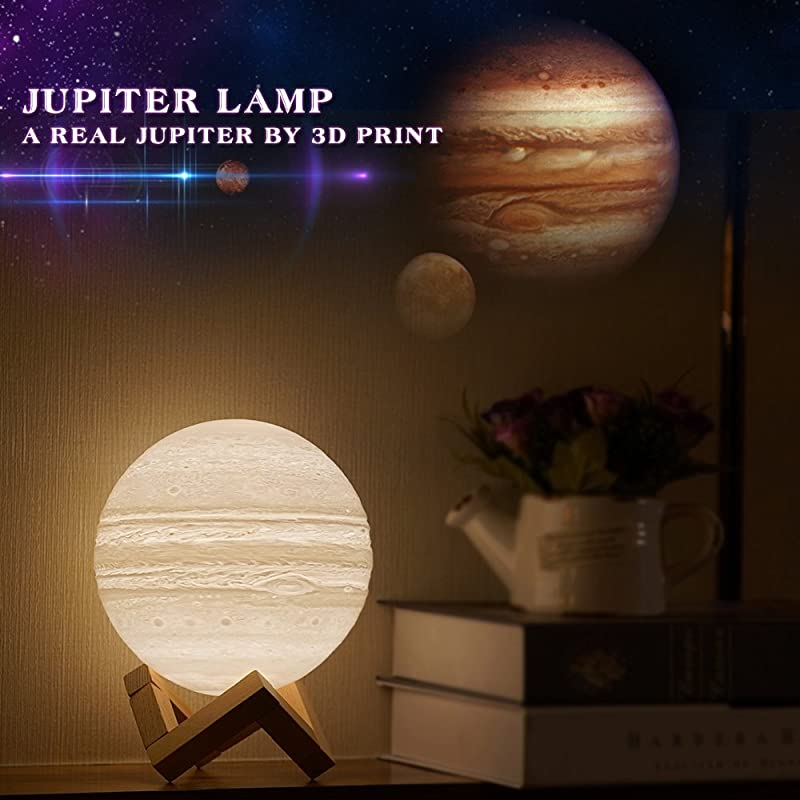 Mydethun Moon Lamp Moon Light Night Light For Kids Gift For Women USB Charging And Touch Control Brightness 3D Printed Warm And Cool White Lunar Lamp Jupiter Lamp 4 7 Inches