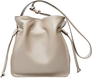 Heshe Leather Womens Small Shoulder Bag Bucket Bags Drawstring Casual Purse for Ladies