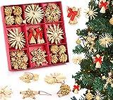 RSVOM Weihnachtsbaumschmuck Weihnachtsanhänger, 32 Stück Stroh Weihnachten Hängende Ornamente Dekoration Weihnachtsbaum Deko, Handgemachte Christbaum Strohsterne Anhänger Schmuck Christbaumschmuck