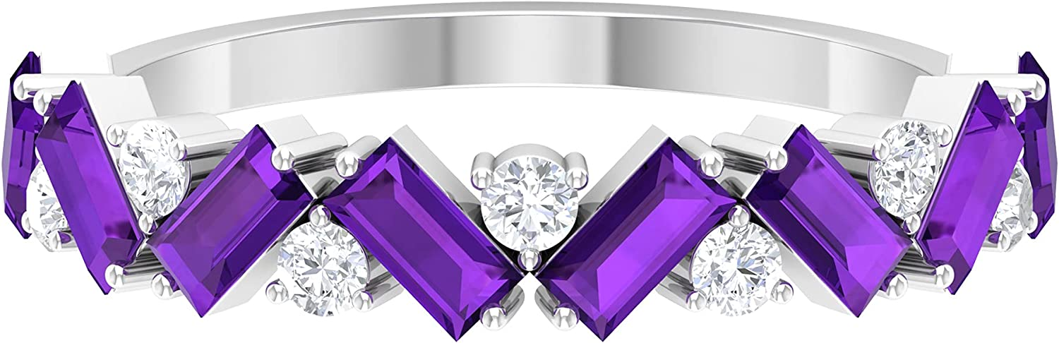 1.50 CT Baguette Cut Max 73% OFF Amethyst and Rin Daily bargain sale Half Eternity Band Diamond