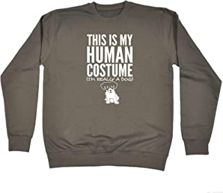 123t Funny Sweatshirt - Dog This is My Human Costume - Sweater Jumper
