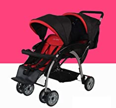 City Select Double Stroller, Quick Fold Twin Side-by-Side Sibling Stroller, Suspension Shock Absorbing Double Pushchair, Suitable for 6 Months to 3 Years (Color : Red)