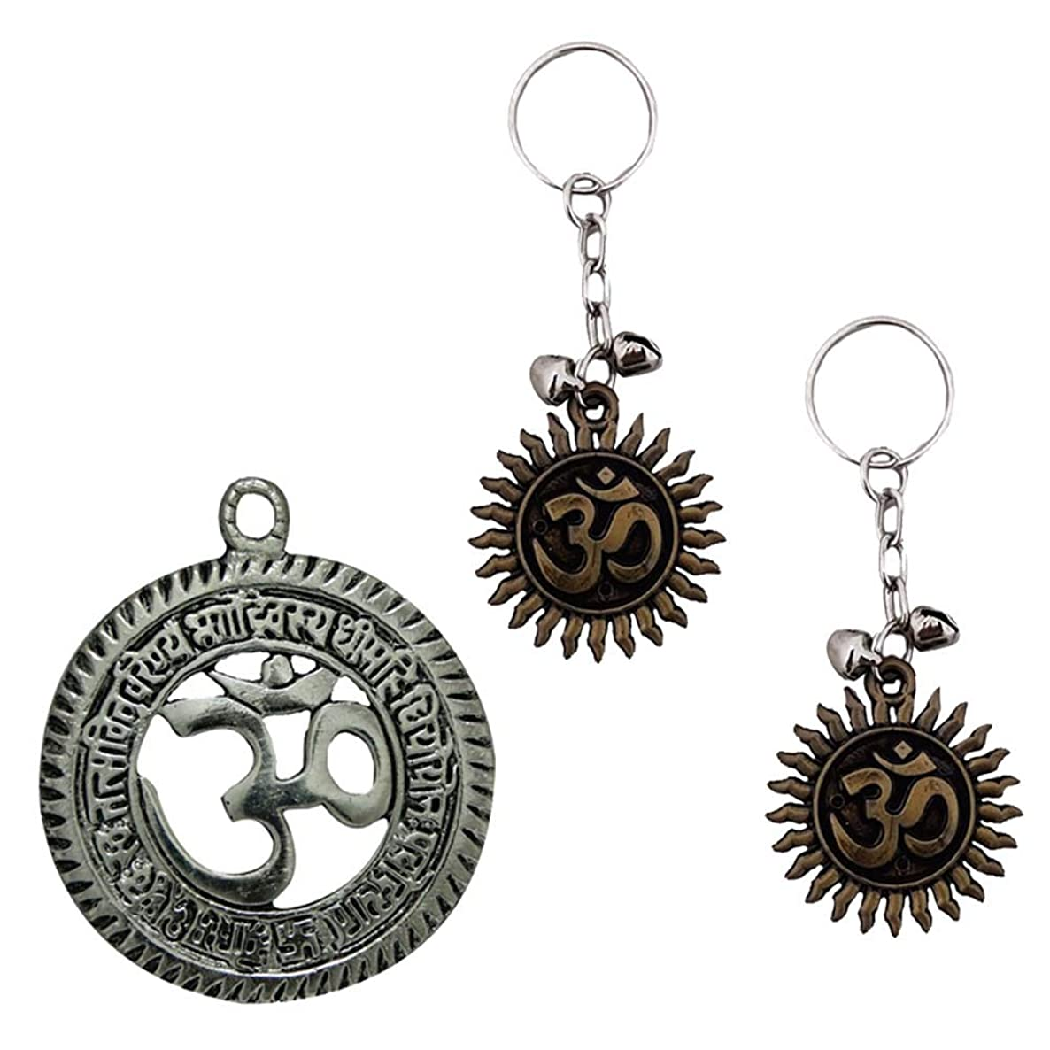 Divya Mantra Sri Om Aum Hindu Symbol Talisman Gift Pendant Amulet Decor Good Luck Charm Protection Interior Wall Hanging Living Room/Decoration Showpiece & Set of 2 Keychains for Bike/Car/Home