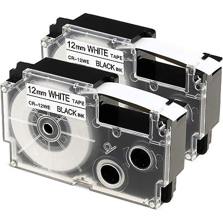 2x SCHRIFTBANDKASSETTE 12mm SCHWARZ-weiss für CASIO XR-12WE XR-12WE1