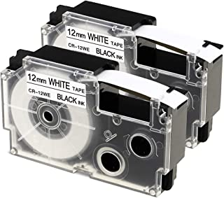 2-Pack Compatible Casio XR-12WE 1/2 Inch Label Tape Cartridges for Use with Casio KL-120 KL-60 KL7200 KL-100 KL7000 KL-750B Label Makers and More, Black on White, 1/2 (12mm) x 26.2 (8m)