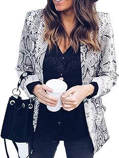 Women Open Front Work Blazers Leopard Snake Print Long Sleeve Cardigans