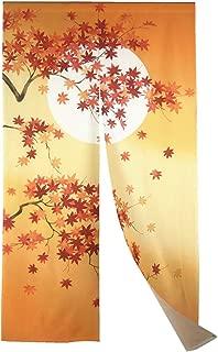 Long Type Japanese Doorway Curtain Autumn Maple Leaves Noren Moon(33.5