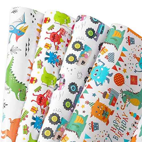 Camkuzon Birthday Wrapping Paper for Boys, Girls, Kids. 4 Cute Design Includes Monster,Car,Dinosaur.Gift Paper for Holiday,Party,Baby Shower-1 Pack Contains 10 Sheets-20 inch X 30 inch Per Sheet ,Folded Flat, Not Rolled