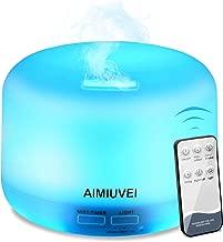 AIMIUVEI Humidificador Aromaterapia Ultrasónico con Control Remoto, Difusor de Aceites Esenciales 300ml,Difusor Aroma de Vapor Frío con 7 Colores de LED y 2 Opciones de Niebla para Bebé Yoga Oficina