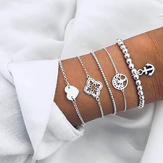 Arimy Conjunto de pulseras de plata con forma de corazón Boho con cuentas de árbol de la vida para mujeres y niñas (5 piezas)