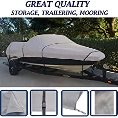 BOAT COVER FOR PRINCECRAFT PRO SERIES 145 SC 2005 , STORAGE, TRAVEL, MOORING NEW, IMPROVED TECHNOLOGY: Heavy-Duty, Breathable, Water repellent, 600 DENIER Woven Polyester Marine Canvas for Durability and Weather Resistance. Our Cover is Multi-Functio...