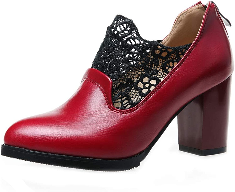 Beautiful - Fashion Womens Pointed Toe Oxford shoes Wingtip Lace Zipper Platform Chunky High Block Heel Dress Pump Brogue