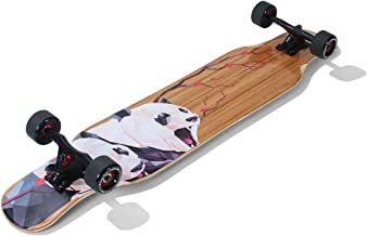 Lrfzhicg Drop Through Longboard Bamboo Downhill Cruising Longboard Skateboards