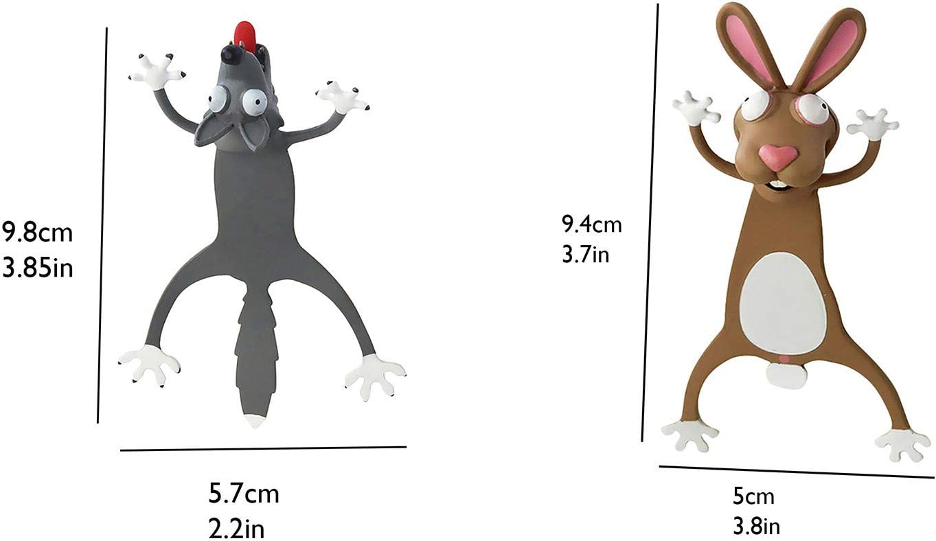 Cat Wacky Funny Animal Bookmark Pals for Kids Novelty Squashed Animals Ouch Series Bookmarks Creative Cute Stationery Birthday Christmas Gift for Kids Teens Students 3D Funny Animal Bookmark