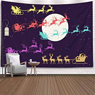 EMMTEEY Christmas Tapestry, Tapestries Decor Living Room Bedroom for Home 80x60 Inches for Silhouette Santa Sleigh