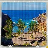 PPPPPRussell Shower Curtain Tenda per doccia, ganci per Set da bagno con decorazione impermeabile di Tenerife Sandy Beach Palms Salvaje, 72X72 In, 183X183Cm